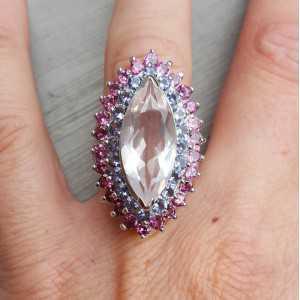 Silber ring set mit Rosenquarz, Ioliet und Rhodoliet Granate 17