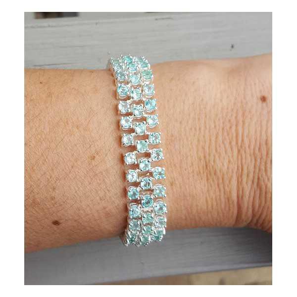 Silber-Armband-set mit drei Reihen von Apatit