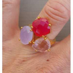 Goud vergulde ring met roze quartz en Chalcedoon verstelbaar