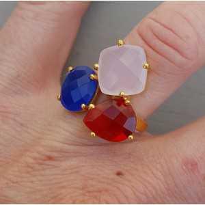 Goud vergulde ring met rode quartz en Chalcedoon verstelbaar