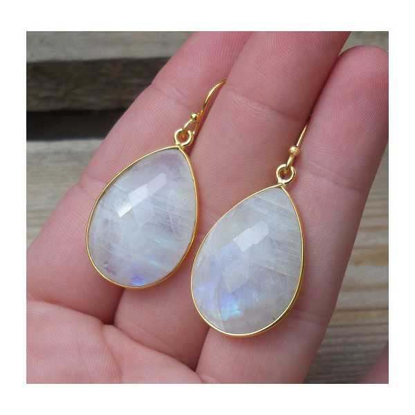 Gold plated earrings with large oval shape rainbow Moonstone
