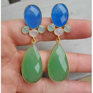Goud vergulde oorbellen met blauw en groen Chalcedoon