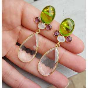 Goud vergulde oorbellen met Bergkristal en Peridot quartz