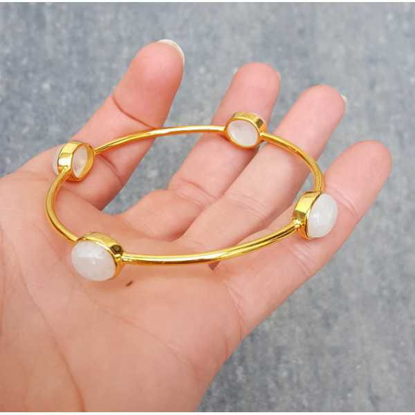 Gold plated bracelet set with four rainbow Moonstones