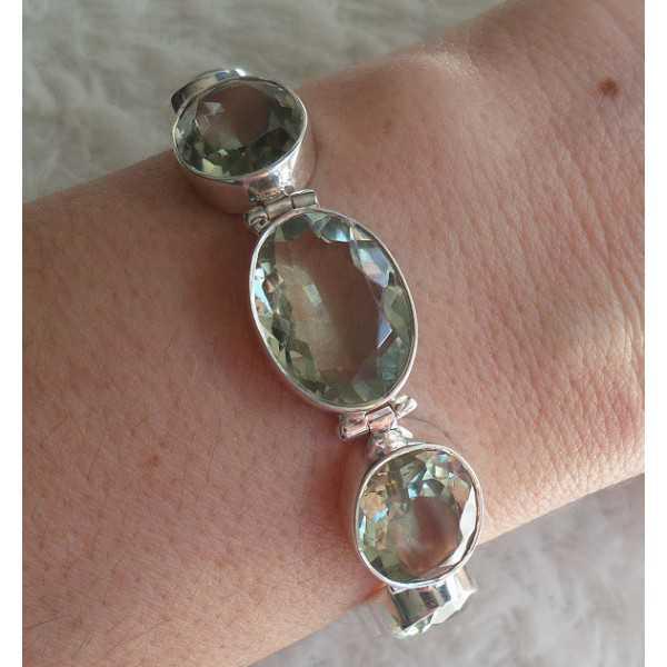 Zilveren armband gezet met facet geslepen groene Amethist
