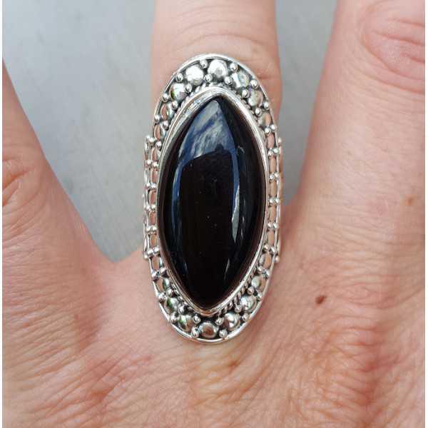 Silber ring mit marquise schwarz Onyx 16,5 mm