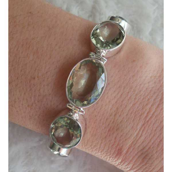 Silber Armband-set mit Facette cut green Amethyst