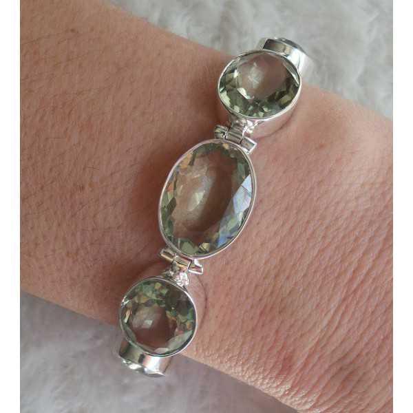Silver bracelet set with facet cut green Amethyst