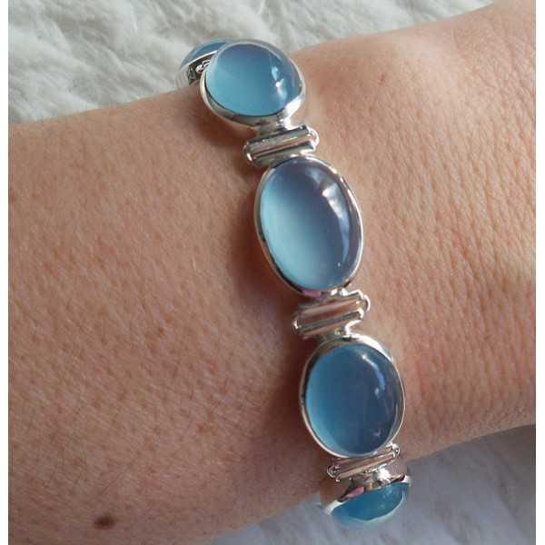 Zilveren armband gezet met blauw Chalcedoon