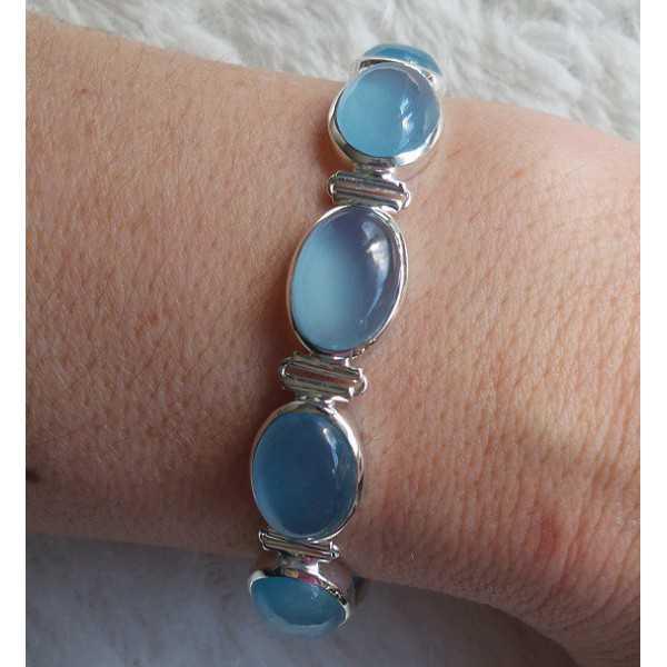 Silver bracelet set with blue Chalcedony