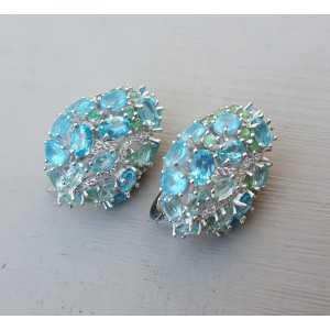 Zilveren oorbellen gezet met Apatiet en Emerald