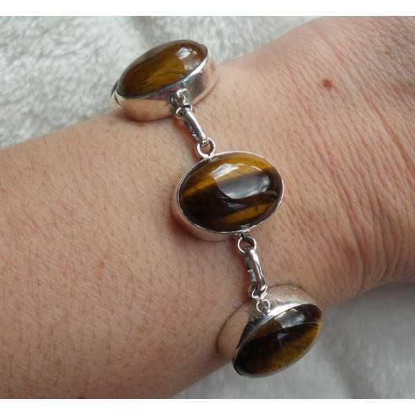 Zilveren armband gezet met cabochon geslepen Tijgeroog