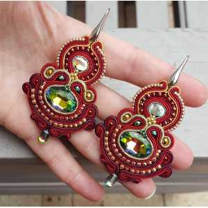 Earrings with large red handmade pendant
