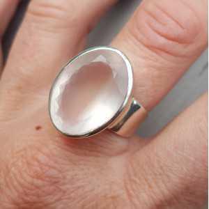 Silber ring set mit ovaler Facette rose quartz