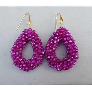 Vergoldete Ohrringe mit offenem Tropfen fuchsia rosa Kristalle