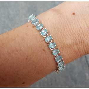 Zilveren armband gezet met ovale facet geslepen Apatiet