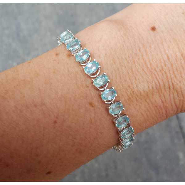 Silber Armband-set mit oval facet cut Apatit