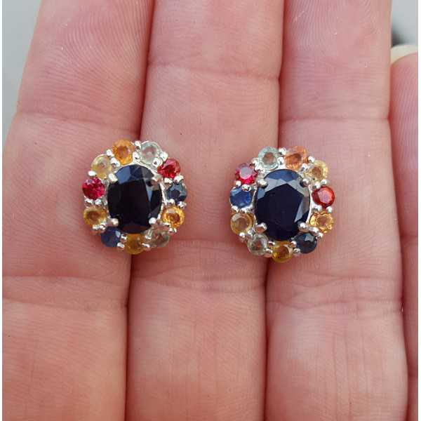 Silver oorknoppen set with blue Sapphire and multi colored Sapphires