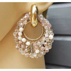 Creoles oval pendant of white and pink crystals