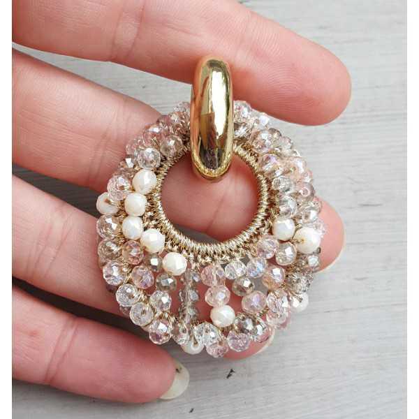 Kreolen ovaler Anhänger aus weißen und rosa Kristallen