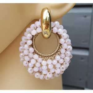 Creoles oval pendant of pink crystal