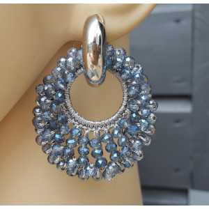 Creoles oval pendant of blue crystals