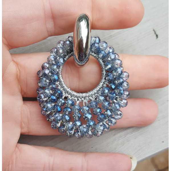 Kreolen oval Anhänger der blauen Kristalle