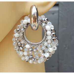Creoles oval pendant gray white crystals