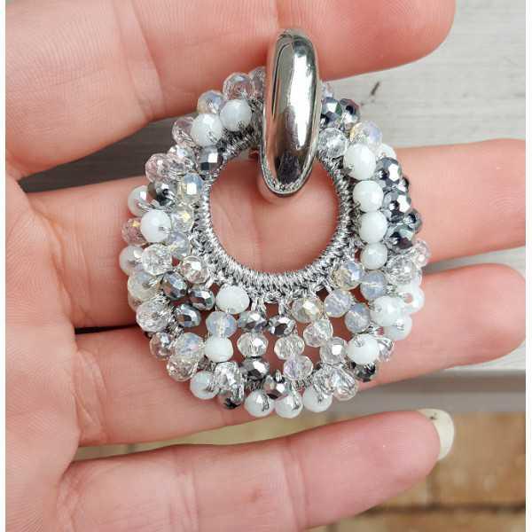 Kreolen oval Anhänger Grau-weiße Kristalle