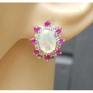 Silber Ohrringe-set mit Ruby und dem äthiopischen Opal
