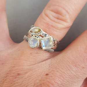 Silber-Ringe mit Mondstein 18.5
