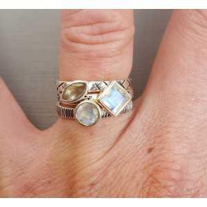 Silber-Ringe mit Mondstein von 16,5 oder 18,5
