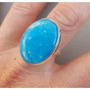 Zilveren ring gezet met ovale Smithsoniet 18 mm