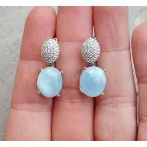 Zilveren oorbellen met ovale cabochon Larimar