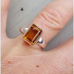 Silber ring set mit rechteckigen Citrin 17,5 mm