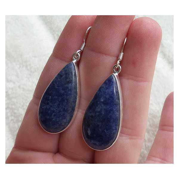 Silber Ohrringe-set mit großen, ovalen Form Sodalith