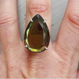 Zilveren ring gezet met druppelvormige zwarte Mystic Topaas 18.5 mm
