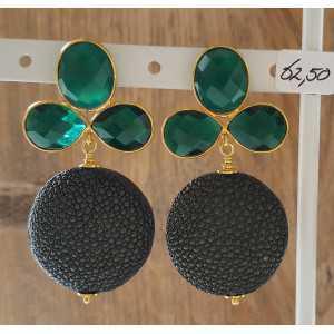 Vergoldete Ohrringe mit dunkelgrün Roggenleer und grüner Onyx