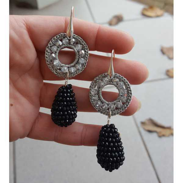 Silber Ohrringe Tropfen schwarzen Onyxen und Silber ornament