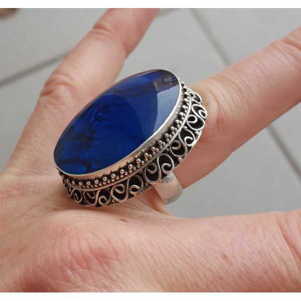 Silber-ring, Blaue Abalone Muschel geschnitzte Einstellung