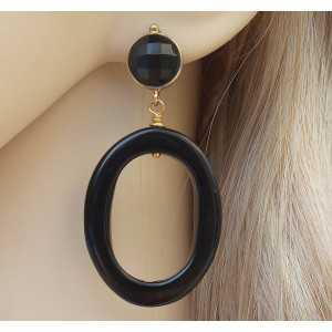 Vergoldete Ohrringe mit ovalen und Runden Onyx schwarz