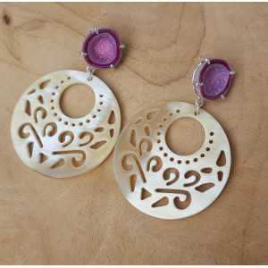 Silver earrings with Agate geode and round buffalo horn