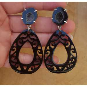 Silver earrings with Agate geode and black buffalo horn