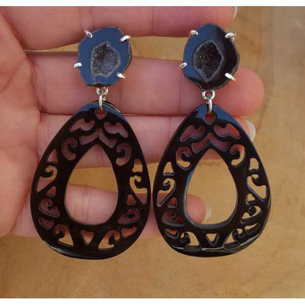 Silber Ohrringe mit Achat-geode und schwarze buffalo horn