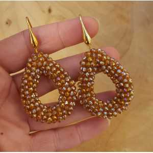 Gold plated earrings with open drop crystals