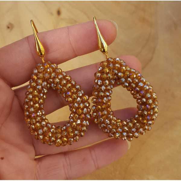 Vergoldete Ohrringe mit öffnen von drop-Kristallen