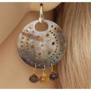 Gold plated earrings with Blacklip shell, Citrine and Smokey Topaz