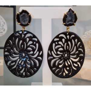 Gold plated earrings with Agate geode and oval black buffalo horn pendant