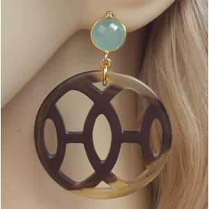 Gold plated earrings with buffalo horn and aqua Chalcedony