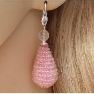 Zilveren oorbellen grote druppel van facet Rozenkwarts steentjes